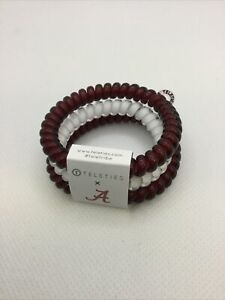 Teleties 3 Pack Small Hair Ties Alabama Red White Ponytail Holder Bracelets NEW