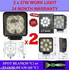 2x 27W 12V LED WORK LIGHT TRUCK TRAILER BOAT OFFROAD FLOOD BEAM LAMP 4WD SUV CAR