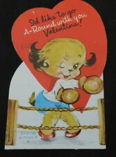 "Vintage 1950's School Valentine Boxing Dog ""I'd like to go a round with you"" V95"