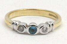 Topaz Three-Stone Yellow Gold Diamond Fine Rings
