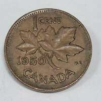 1950 Canada One Cent Ungraded Raw Coin Canadian Penny CAN50P