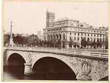 Paris, le pont Saint Michel Vintage albumen print  Tirage albuminé  21x27