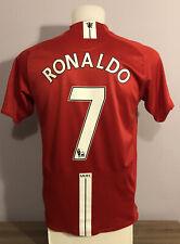 Manchester United Home Football Shirt 2007/08 RONALDO 7 Small S Adults Nike AIG