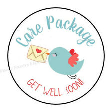 30 CARE PACKAGE GET WELL SOON ENVELOPE SEALS LABELS STICKERS FAVORS 1.5