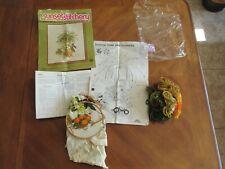 Vtg 1975 Sunset Stitchery Crewel Embroidery Kit Boston Fern & Flowers Started