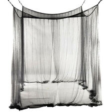 Black 4 Corner Canopy Bed Netting Mosquito Net Full Queen King Size Bedding SI