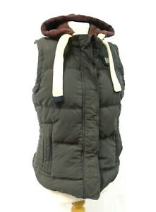 Superdry Academy Gilet Down Feather Padded Detachable Hood Body Warmer Large