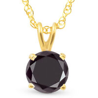 1 Ct Black Diamond Solitaire Pendant Necklace 10k Yellow Gold