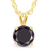1 Ct Black Diamond Solitaire Pendant Necklace 10k Yellow Gold