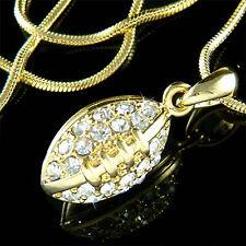 w Swarovski Crystal ~3D American FOOTBALL Super Bowl BALL Sport Gold Pl Necklace