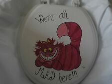 HAND PAINTED  CHESHIRE CAT  PINK BLACK USA SEALED WHITE STANDARD  TOILET SEAT