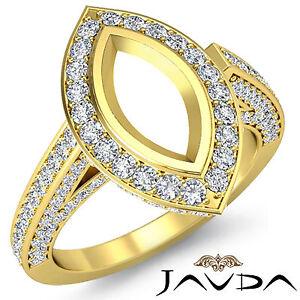 Diamond Engagement Marquise Semi Mount Ring 1.25Ct  Pre-Set F-G 18k Yellow Gold