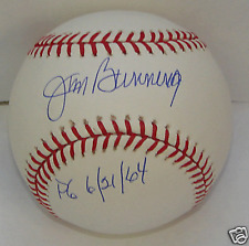 Jim Bunning Autograph / Signed Baseball Philadelphia Phillies PG 6/21/64