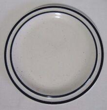 """HANIWA STONE WARE 'VENTURA' 3438 7.5"""" SALAD BREAD PLATE WHITE BLUE STRIPES"""