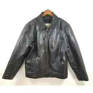M. Julian Wilsons Black Distressed Leather Jacket Coat Moto Thinsulate Size S
