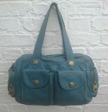 MARC JACOBS Sea Blue Green Pebbled Grain Leather Shoulder Bag With Brass Gold