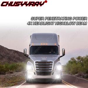 For Freightliner Cascadia 2008-2016 4X LED Headlight Hi/Lo+Fog Lights Bulb 6000K