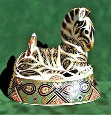 Royal Crown Derby 'Zebra' Paperweight - 1st Quality with Gold Stopper