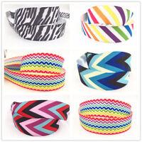 5 Yard1'' 25MM Rainbow Stripe Printed Grosgrain Ribbon Hair Bow Sewing Ribbon