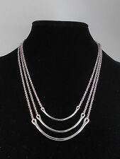Kenneth Cole New York Silvertone ROSE BLOSSOM U Bar 3 Layer Convertible Necklace