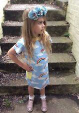 Girls Kids Childs Rainbow T Shirt Tee Shift Dress 100% Cotton 1 2 3 4 5 6 7 8 yr