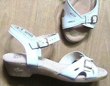Groovy 1960s Wedges Sandals Shoes & Buckles~White Leather~Made In Usa~New &Box~6