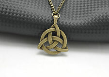 Women Vintage Bronze Celtic Triquetra Trinity Knot in Band Pendant Necklace