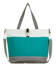 Teal and Gray Color Block Diaper Tote Bag by White Elm - The Moxie - Messenger