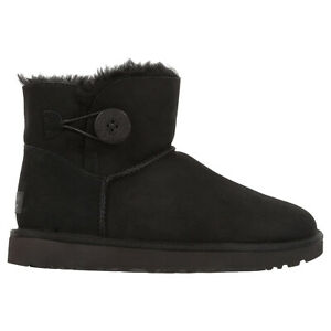 Ugg Australia Womens Boots Mini Bailey Button II Casual Pull-On Ankle Suede