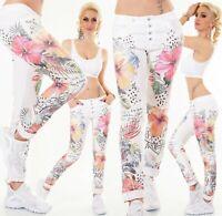 ITALY Damen Jeans Hose Baggy Chino Tropical Blumen Print Knopfleiste S M L XL