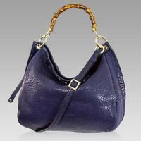 Plinio Visona Designer French Navy Blue Leather Large Bag W/ Bamboo Handles