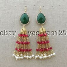 K082914 White Pearl Red Jade Green Crystal Earrings