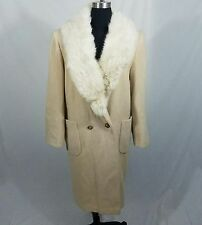 Raywood and Stein Fur Collar Beige Wool Coat Bust 43