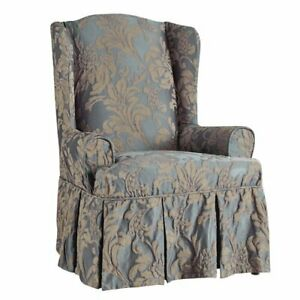 SURE FIT Matelasse Damask Wing Chair Slipcover  blue/beige