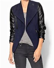Piperlime Tinley Road Navy Black Faux Vegan Leather Moto Jacket/Coat Medium NEW