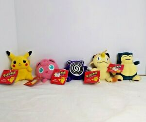 Lot of 5 Vintage 1998 Pokemon Plush Hasbro Nintendo With Original Tags