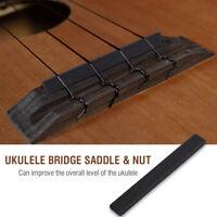 Ebony Ukulele Bridge Saddle & Nut Slotted 4 String Hawaii Guitar Ukulele Parts