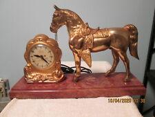 Vintage United Self Starting Electric Horse Mantle Clock Bakelite Base - Works