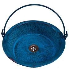 Green Aged Copper Bathroom Vessel Sink Pan Hinged Handle Design Bucket Lavatory