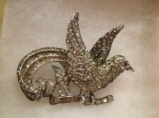 "Magnificent Vintage 1940's ""CORO CRAFT STERLING"" Silver Brooch-RHINESTONE BIRD"