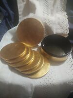 6 Round Coasters VTG Gold Lacquer & Black Enameled in Paper Mache Storage Box