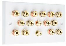 Speaker Wall Plate 7.2 14 Gold Binding Posts + 2 RCA's AV Audio Non-solder