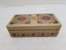 Beautiful Vintage Hand Made Wooden Box With Hot Knife Carved Hand Painted Design