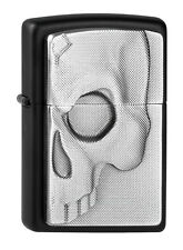 Zippo Lighter ● Half Skull Black Matte Emblem ● 2003985 ● Neu New OVP ● A385
