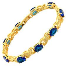Charming! Blue Sapphire 18K Yellow Gold Gp Tennis Bracelet Jewelry New