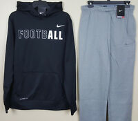 NIKE FOOTBALL THERMA-FIT SWEATSUIT HOODIE + PANTS BLACK GREY NEW (SIZE SMALL)