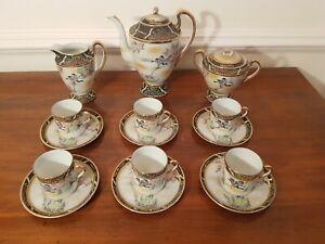 Vintage Porcelain Mikori Japanese Tea Coffee Set  6 places 17 pieces Enamel