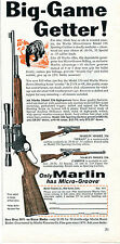 1960 Print Ad of Marlin Big-Game Getter Models 336 Carbine & Texan Rifle