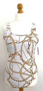 """My Swim Body Status Classic Swimsuit in Iconic """"Chanel"""" Gold Chain Print Size 16"""