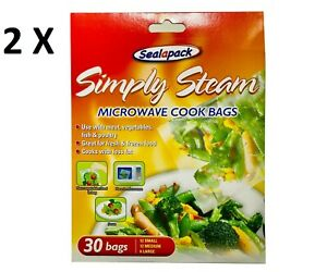 2 x Packs 30 Microwave cook simply steam bags vegetables, meat, fish, poultry